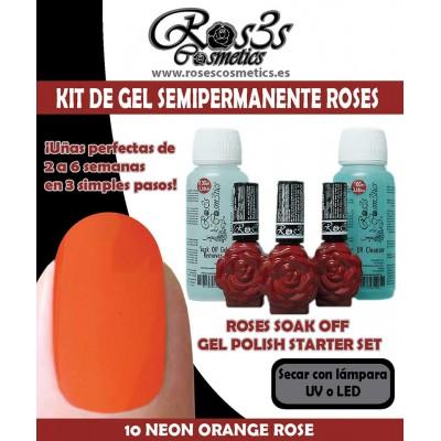 Kit 10-Neon Orange Gel semipermanente Ros3s