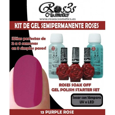 Kit 13-Purple Rose Gel semipermanente Ros3s