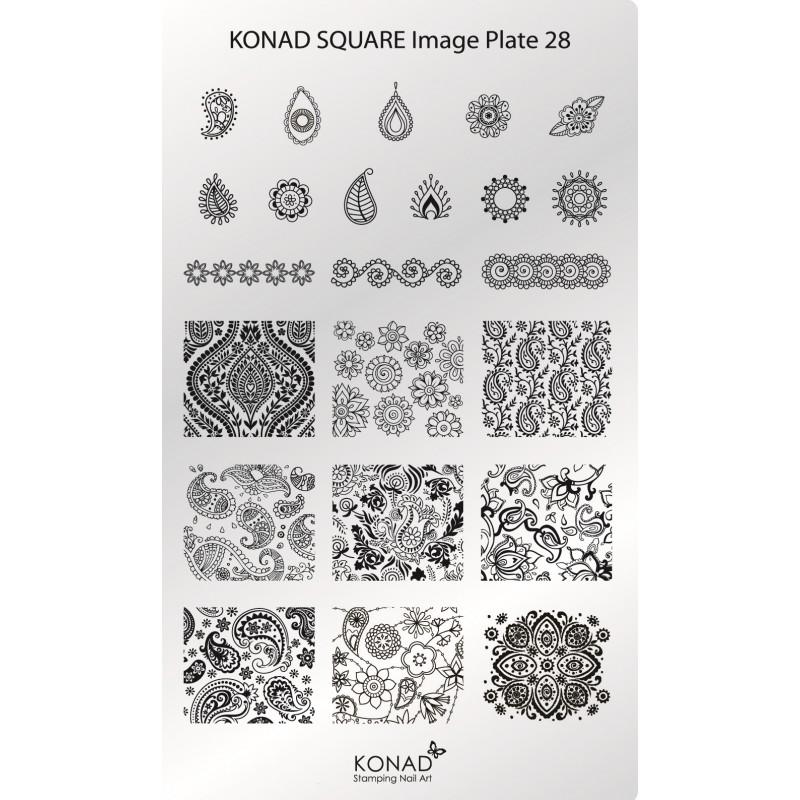 C28Placa de diseños Rectangular Konad