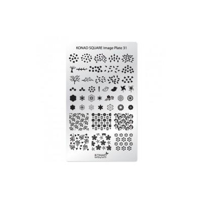 C31 Placa de diseños Rectangular Konad