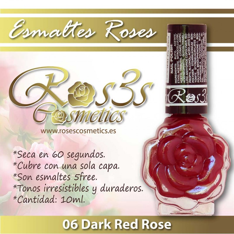 Dark Red Rose 06 Esmalte de uñas Ros3s (10ml)