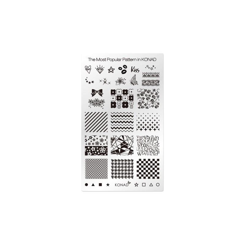 Patrones populares. Placa de diseños Rectangular Konad
