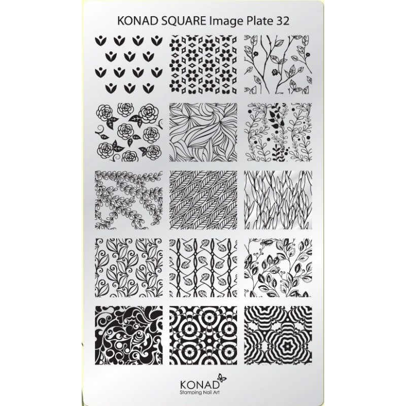C32 Placa de diseños Rectangular Konad