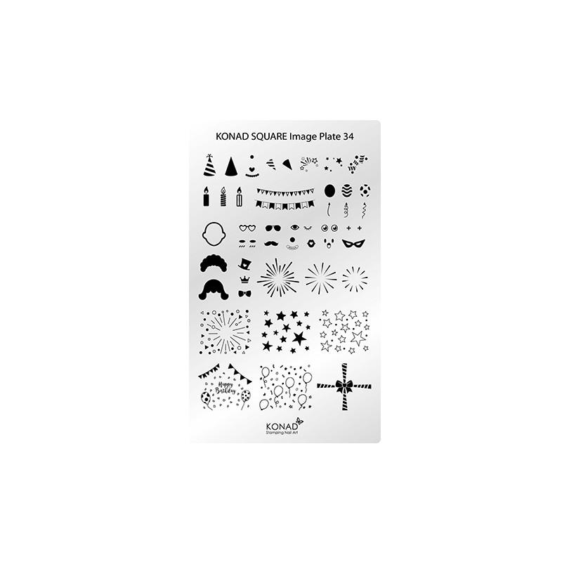 C34 Placa de diseños Rectangular Konad